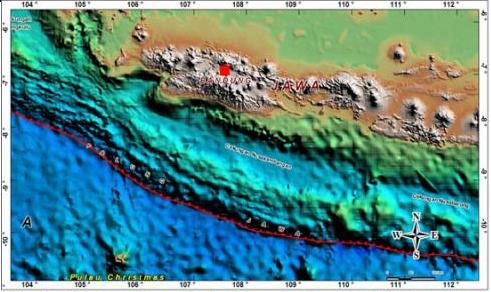 Satuan geomorfologi palung samudra di sebelah selatan Jawa (PPPGL, 2008).